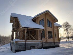 фото стройки дома из клееного бруса